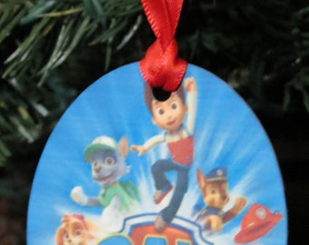 Paw Patrol Inspired Christmas Tree Ornament 2 Sided Can be Personalized NEW