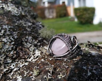Rose quartz wire wrap ring ~ with oxidized sterling silver