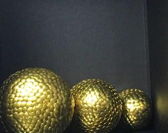 Gold decorative ball, Gold Vase filler, Gold crinkle ball, Gold sphere, Gold ball vase filler, Gold orb