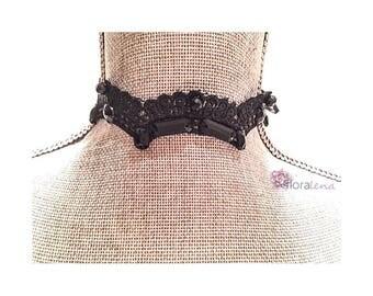 Sienna - Choker Necklace with Lace and Jewels, Chokers, Black Lace Choker, Everyday Choker, Trendy Choker
