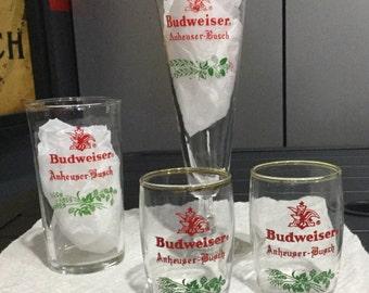Set of Vintage Christmas Holiday Anheuser Busch glasses