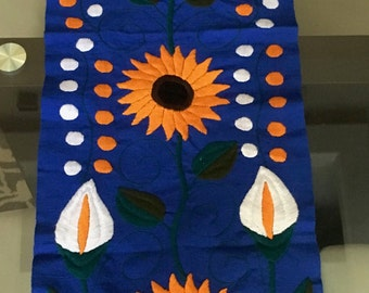SALE!!! Handwoven and Embroidered Table runner: Sunflowers on Violet