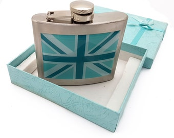 United Kingdom Union Jack Hip Flask in Stainless Steel with Marine Blue Shades Flag