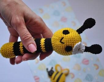Baby shower rattle Crochet rattle Baby rattle Natural baby rattle Cotton baby toy Cotton rattle Handmade baby rattle Eco baby rattle Bee toy