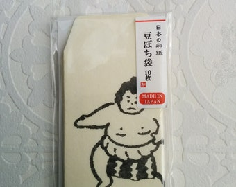 mini mini envelope, tiny envelope, made in Japan, Washi, sumo wrestler