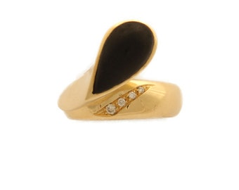 "18 Kt yellow gold ring with diamonds and ebony Drop-Euro 1 ' 065 .00 discount -25%-""free shipping"""
