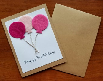 Birthday Card, Handmade Greeting Card, Felt Balloons, 'Happy Birthday', Personalized Message, Free Shipping, Sets of Cards