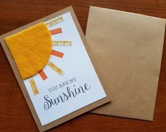 You are my Sunshine, Thinking of you, Thank you, Birthday, Love, Handmade Greeting Card, Personalized Message, Free Shipping, Sets of Cards