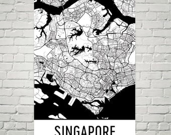 Singapore Map, Singapore Art, Singapore Print, Singapore Poster, Singapore Wall Art, Singapore Gift, Map of Singapore, Birthday, Modern, Art