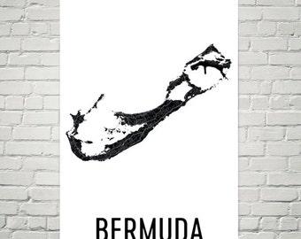 Bermuda Map, Map of Bermuda, Bermuda Art, Bermudan Decor, Bermuda Gift, Bermuda Print, Bermuda Poster, Bermuda Wall Art, Bermuda Map Art