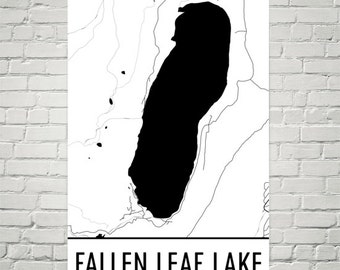 Fallen Leaf Lake California, Lake Tahoe CA, Fallen Leaf Lake Map, California Decor, Lake House Decor, Lake Map, Fallen Leaf Lake Print, Lake