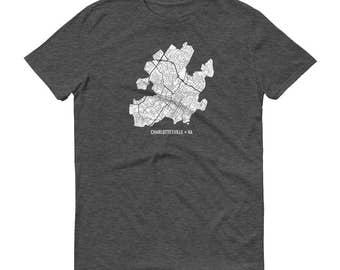 Charlottesville Shirt, Virginia Shirt, Charlottesville TShirt, Virginia Gift, Charlottesville Map, Charlottesville Map, Graduation Gift