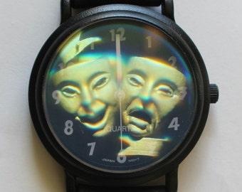Retro Hologram Watch Comedy Tragedy Hologram Quartz