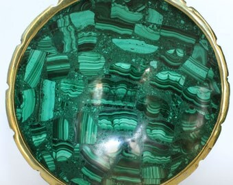 Malachite Bowl Large Semi Precious Bowl Stone Green Natural Dish Dinnerware Tableware Home Decor
