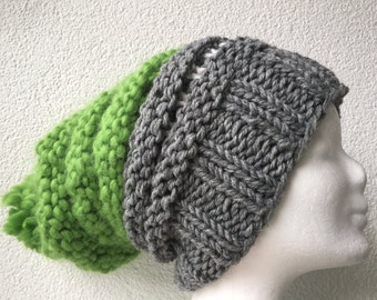 Beanie Hat Alpaca Merino Grau Grün Bobble - knitted