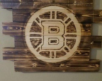 Boston Bruins wall art, Rustic wall art, Wood burned sign, man cave