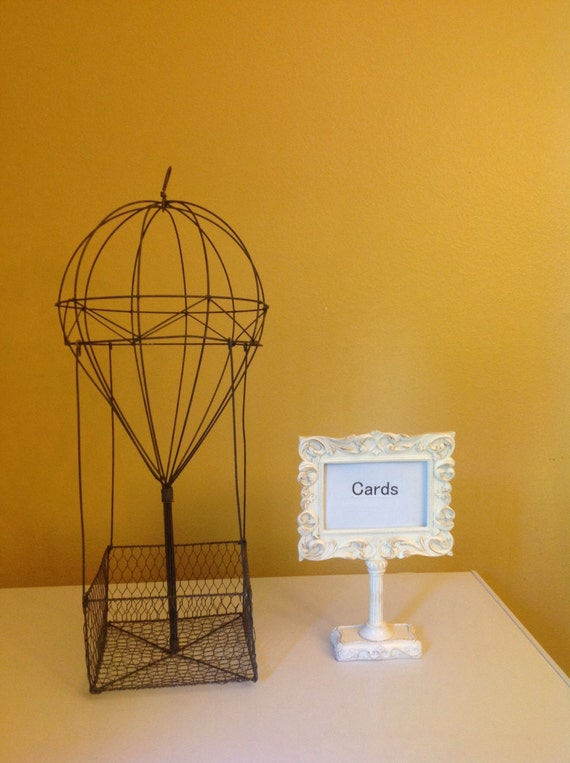 Hot air balloon centerpiece wedding card holder rustic