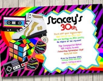 Außergewöhnlich 80er Jahre Retro 80er Jahre Einladung Retro Party Geburtstag Einladen 80er  Jahre Personalisierte Einladung