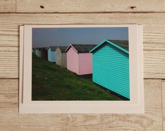 Uk beach card, beach hut photography card, general blank card, kent beach hut colour card, seaside card, beach card uk photography