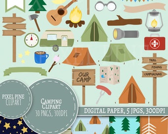 Camping Clipart Set, 30 PNGs, 5 Camping Digital Paper JPGs, Commercial Use, Camp site clipart, camp ground, camp fire clip art tents clipart