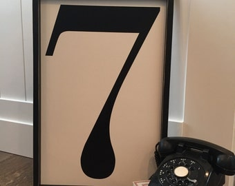 Large 24x16 wood number sign | framed number sign | fixer upper number sign | vintage number sign | number sign | alphabet sign | monogram