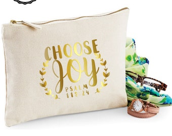 Choose Joy - Bible verse Makeup bag/purse/zipper pouch