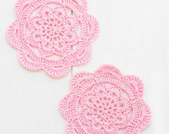 Crochet Coasters Pattern - Rozie Scallop Edge Coasters - PDF