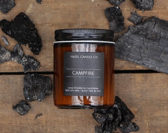 All Natural, Soy Wax, Eco Friendly, Luxury, Campfire Scented Candle/Black on black/ Hand Poured and Handmade in California