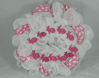 White and Pink Deco Mesh Easter Wreath