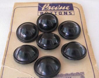 7 Vintage Black Plastic Buttons on Original Store Card