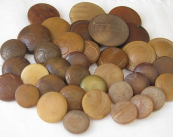 37 Assorted Vintage Vegetable Ivory Buttons