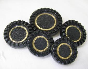 5 Vintage Black Gold Plastic Buttons