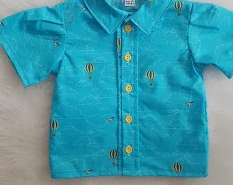 Aqua shirt and blue vest set size 1