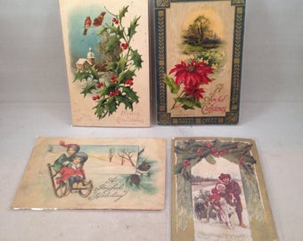 Vintage 1910 Christmas Postcards w/ Old Stamps Lot of 4