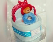 Nappy Cake Crib New Baby Shower Gift With Blankets And Paddington Bear Soft Toy Ring Rattle Maternity Leave Present