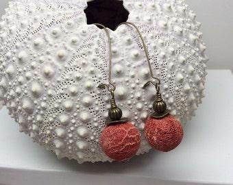 Red sponge coral earrings