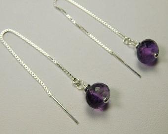 Faceted amethyst threaded earrings