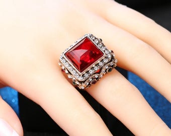 Turkish fashion big crystal ring vintage style ring