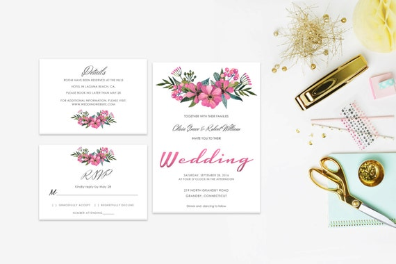 Floral wedding invite word_36,INSTANT DOWNLOAD, Editable Wedding template invitation. Microsoft Word template.Wedding Printable