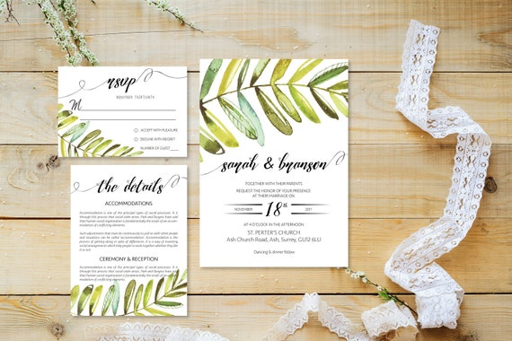 Watercolor leaf wedding invite_3,Printable Wedding Invitation Suite,Wedding Invite Set,Wedding Printable,Calligraphy