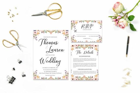 Flower wedding invite_40,Printable Wedding Invitation Suite,Wedding Invite Set,Wedding Printable,Calligraphy