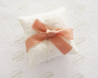 Bridal Ring Cushion / Ring Pillow Embroidered Ivory