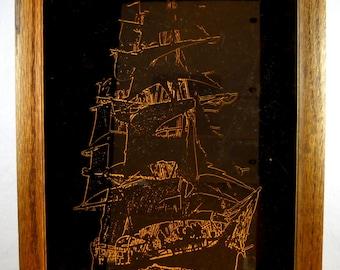 Oak Wood Framed Mirror with Ghost Ship Stencil