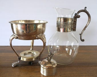 Vintage Glass Carafe with Silverplate Warmer Stand, F.B. Rogers Silver Co., Glass Coffee Pot, Glass Tea Pot, Silver Hollowware,Formal Dining