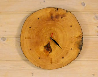 Wood slice wall clock 17 inches Rustic wooden clock