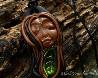 Necklace ~ small forest Elf ~ polymer goddess