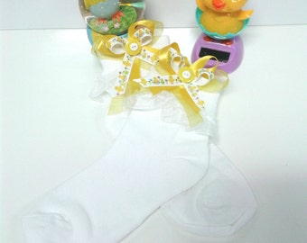 Girls 4-6 Easter Lace Trim Anklet Stockings w Ribbon Bows w Bells....Easter Socks,