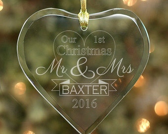 Engraved Newlyweds Glass Heart Ornament - Personalized with Family Name & Year