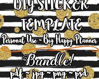 DIY Planner Sticker TEMPLATE! | Full Planner Sticker Editable Kit! // Big Happy Planner