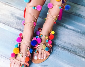 """On sale 20% off, Bohemian sandals """"Peony"""", greek leather sandals"""
